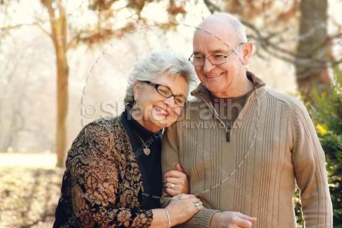Elderly Couple Embraces Walk Christian Stock Photo