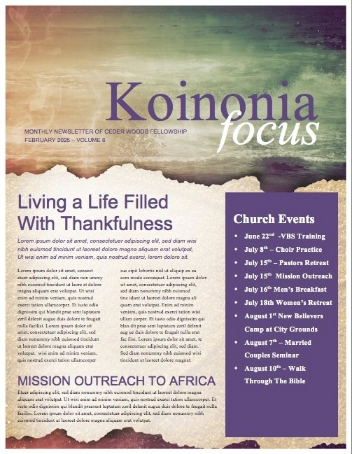 Faith through the Tides Ministry Newsletter