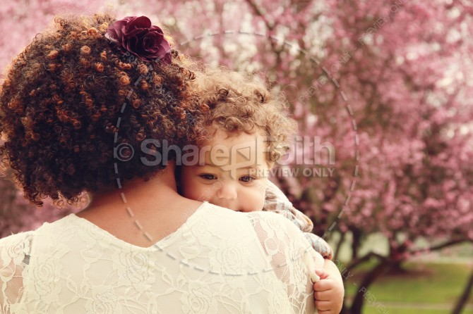 Mother and Son Springtime Christian Stock Image