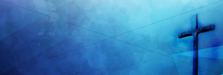 Cross Watercolor Blue Religious Website Banner