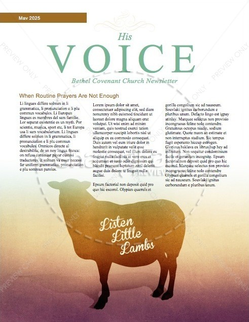 My Sheep Hear My Voice Religious Newsletter