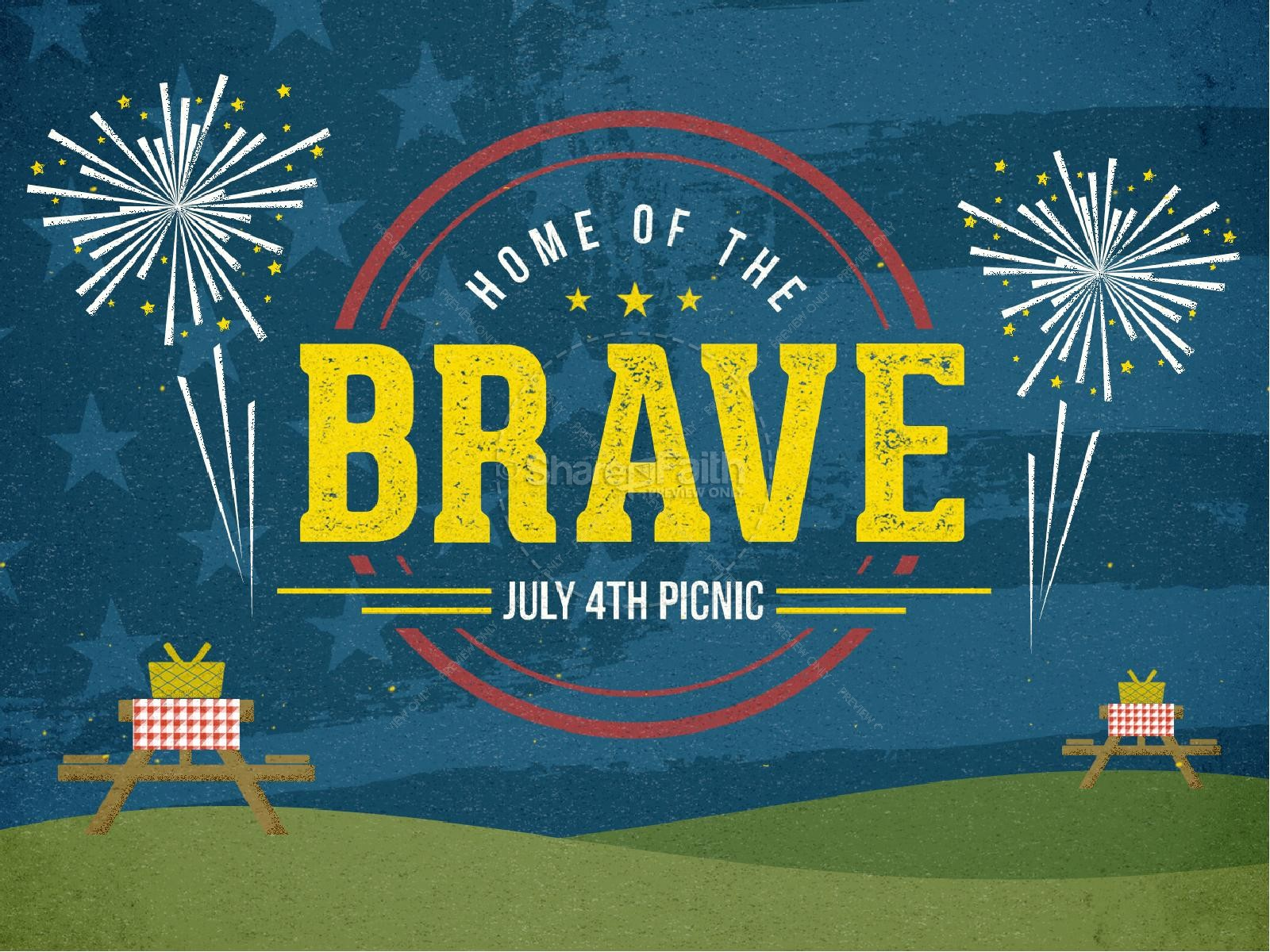 Home of the Brave Fourth of July Ministry PowerPoint | slide 1