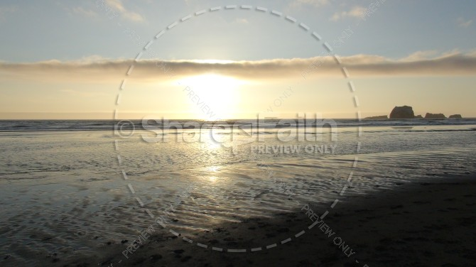 Beach Sunset Parallel Cloud Cover Ministry Stock Photo