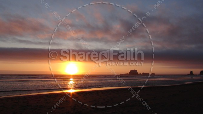 Setting Sun Over Calm Waters Church Stock Photo