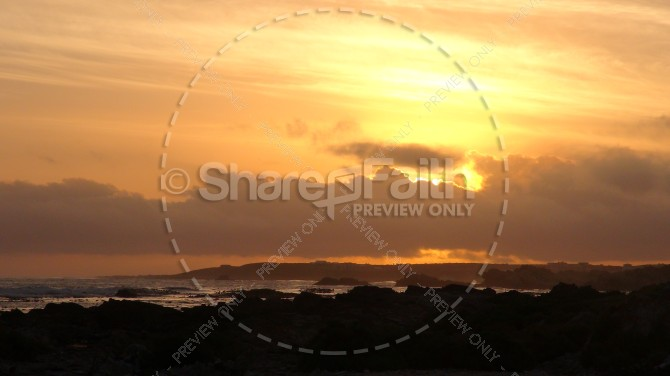 Beach Scene at Dusk Religious Stock Photo