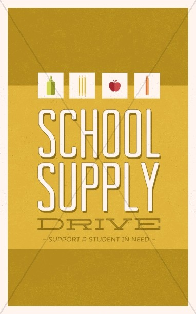 School Supply Drive Church Bulletin