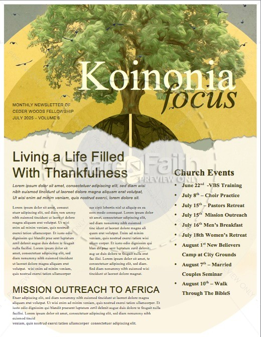 Faith of a Mustard Seed Religious Newsletter | page 1