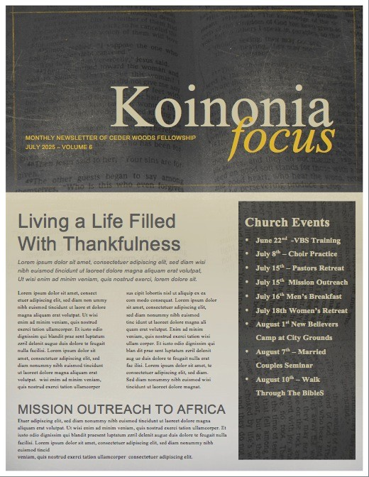The Sower Ministry Newsletter