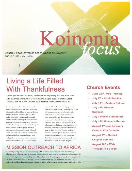 Cross of Christ Summer Ministry Newsletter