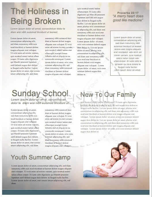 Light Beams Blue Religious Newsletter