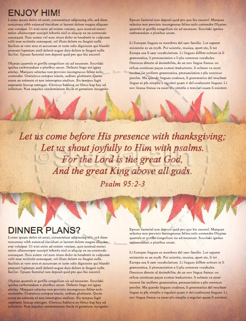 Come with Thanksgiving Christian Newsletter