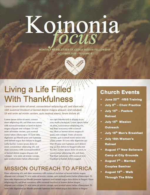 A Generous Heart Religious Newsletter