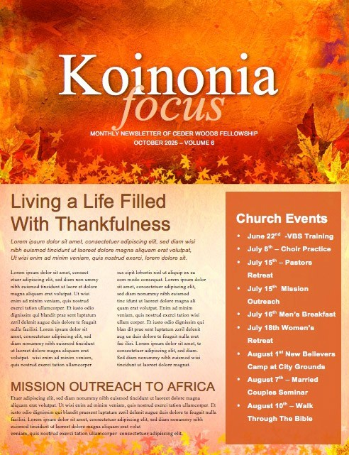 Give Thanks Christian Newsletter
