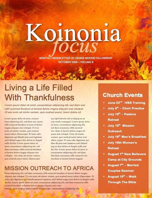 Give Thanks Christian Newsletter