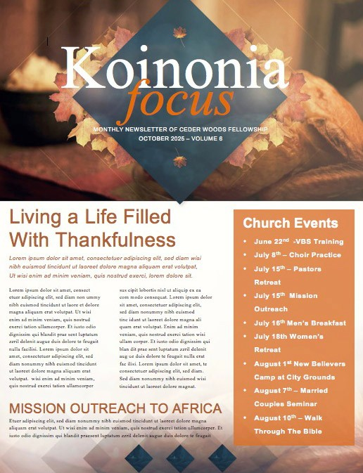 Happy Thanksgiving Holiday Ministry Newsletter