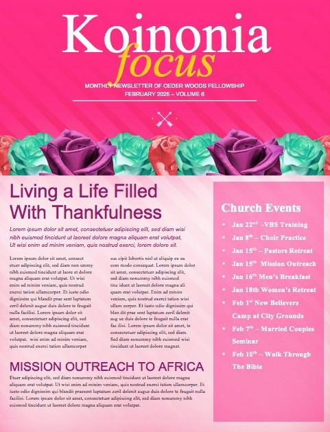 Valentine's Day Banquet Christian Newsletter