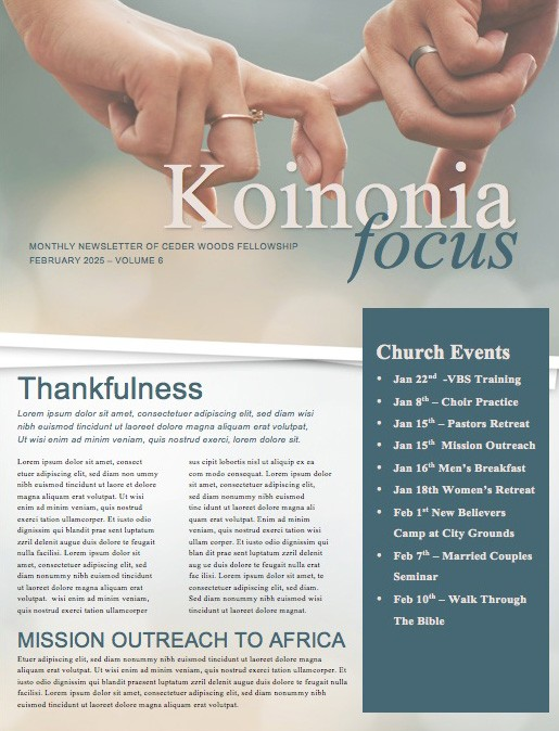 Marriage Retreat Ministry Newsletter