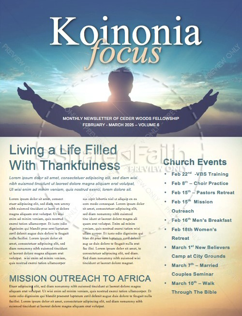 A Call to Worship Christian Newsletter | page 1