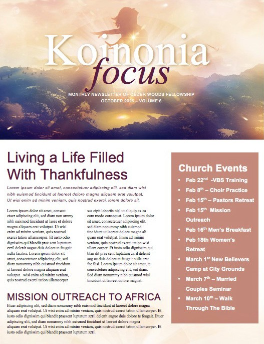 My Redeemer Lives Ministry Newletter