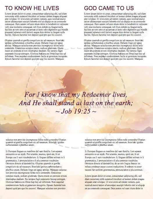 My Redeemer Lives Ministry Newletter