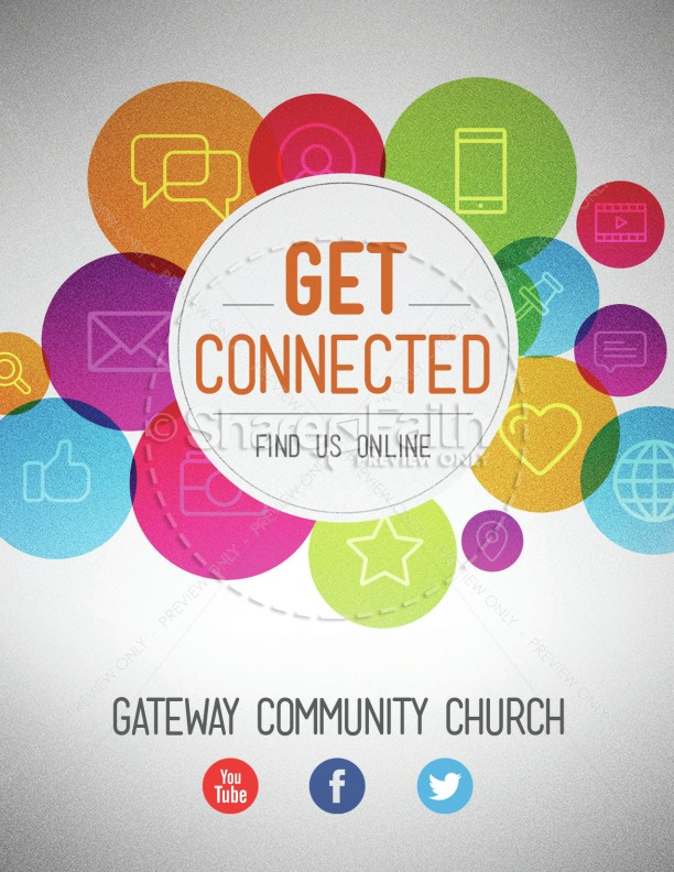 Get Connected Find Us Online Ministry Flyer Template