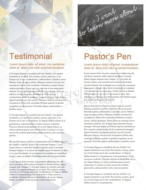 The Book of Proverbs Church newsletter
