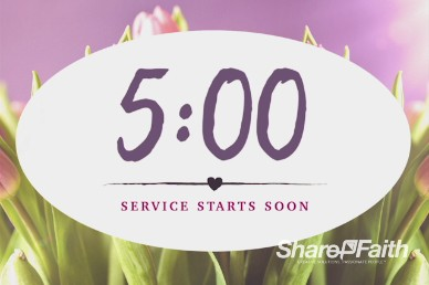 Pink Tulip Mother's Day Christian Five Minute Countdown Timer