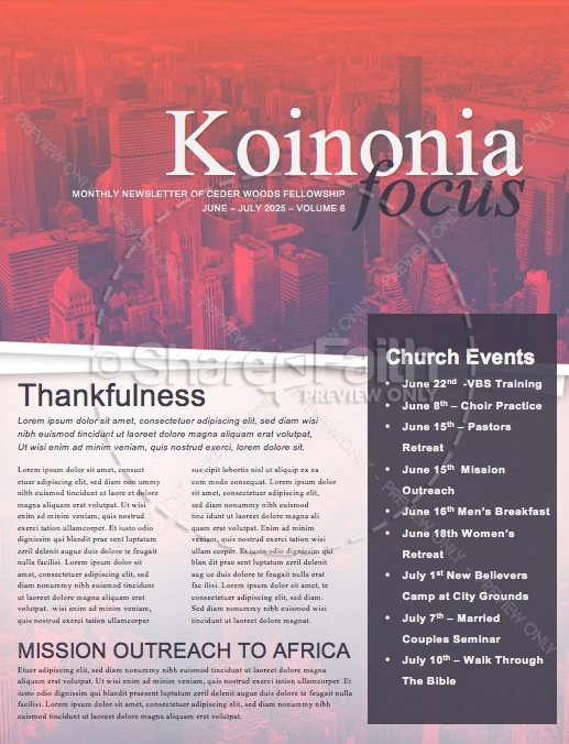 Wake Up Church Newsletter
