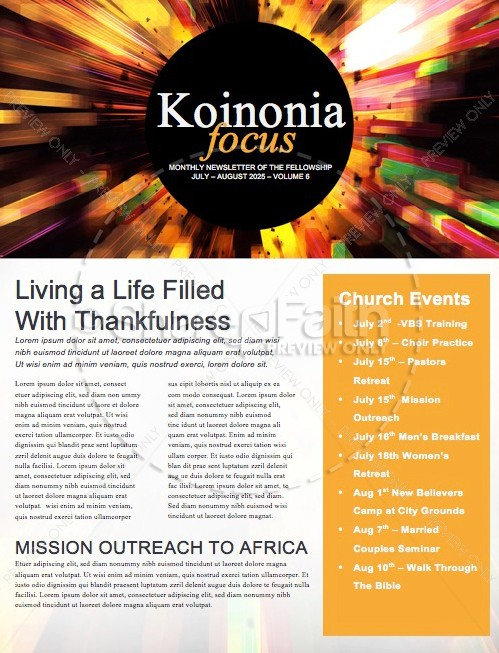 Back to School Power Christian Newsletter | page 1