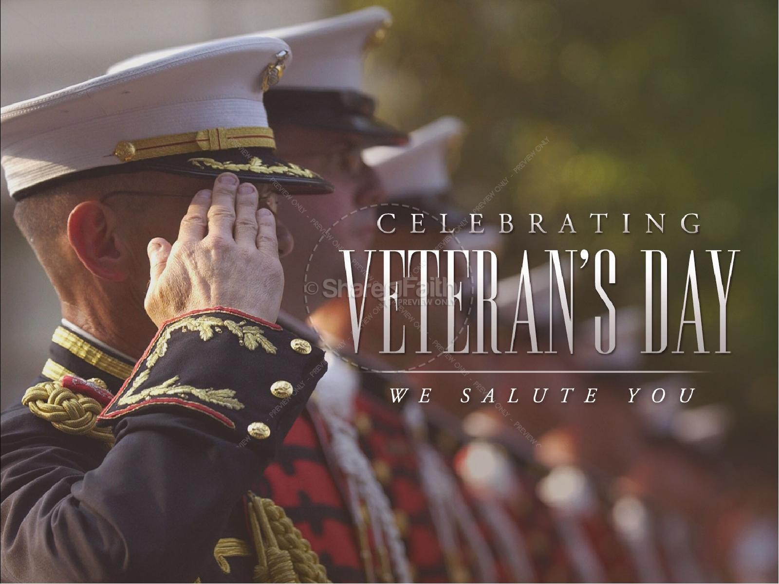 Celebrating Veterans Day We Salute You Church PowerPoint
