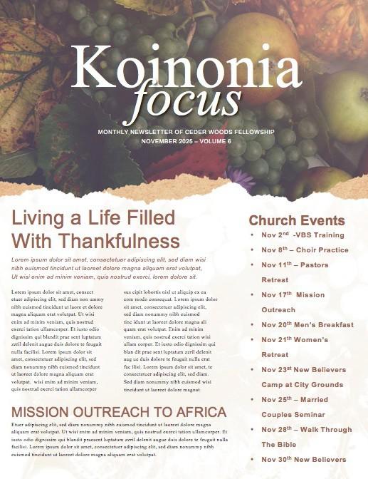 Thanksgiving Celebrate God's Blessing Newsletter