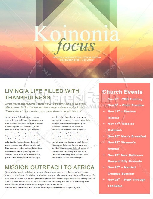 Fall Scenery Ministry Newsletter