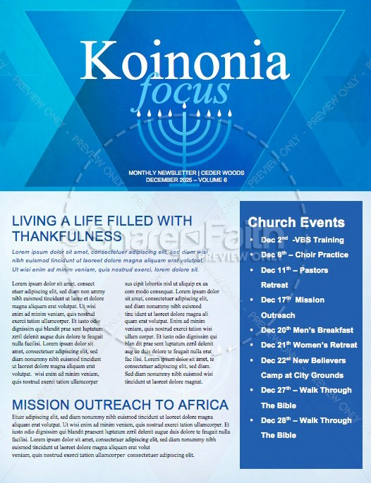 Hanukkah Celebration of Lights Church Newsletter