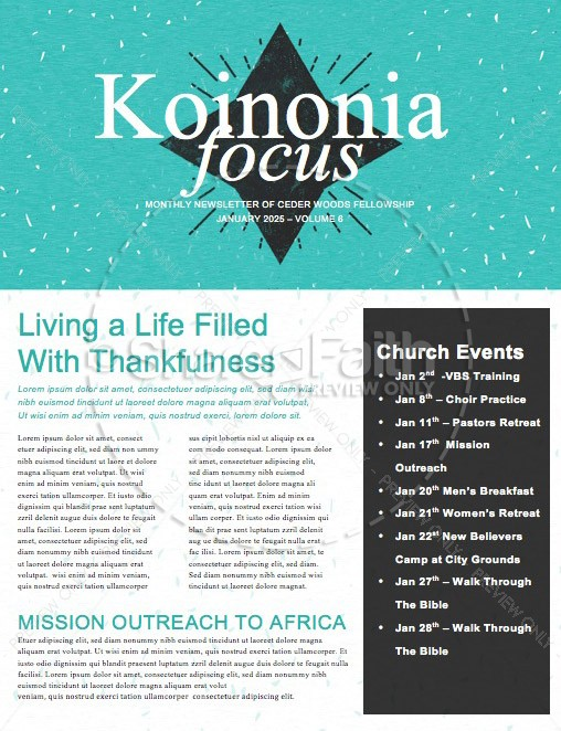 New Year's Greeting Church Newsletter