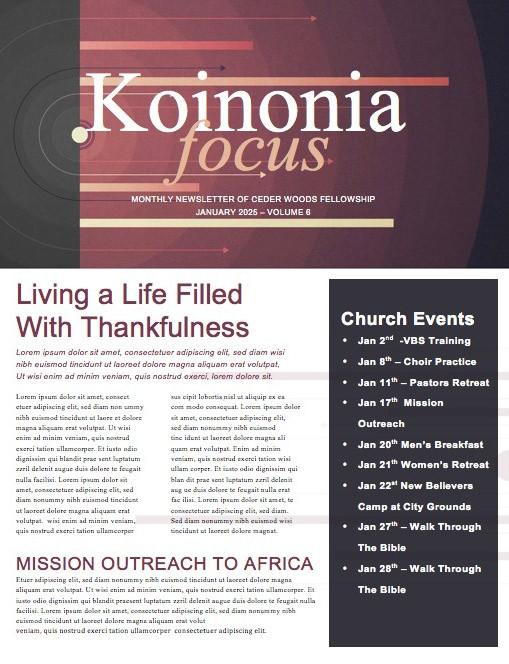 Reset for the New Year Church Newsletter