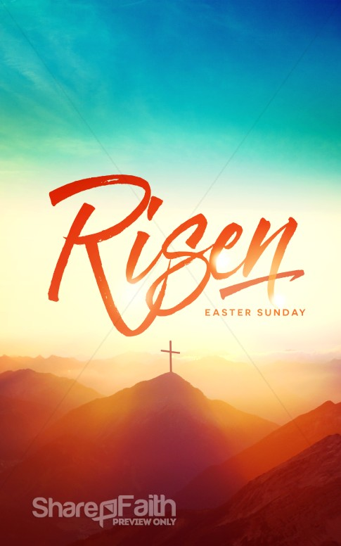 Risen Easter Sunday Church Bulletin Easter Bulletins