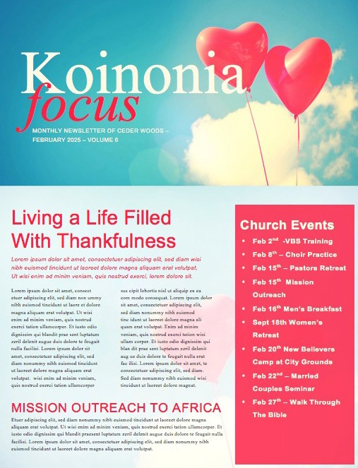 Celebrating Love Valentine's Day Church Newsletter
