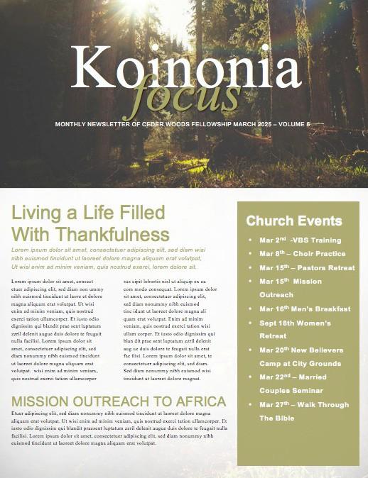 Sunlit Forest Church Newsletter