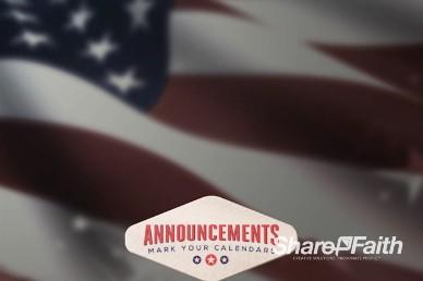 American Flag Church Announcements Video Loop