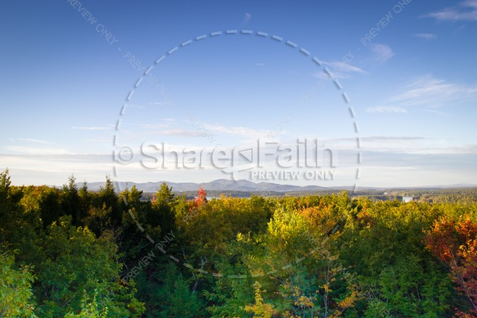 Fall Foliage Landscape Religious Stock Photo
