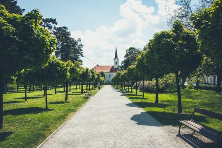 Pathway to Church Religious Stock Photo