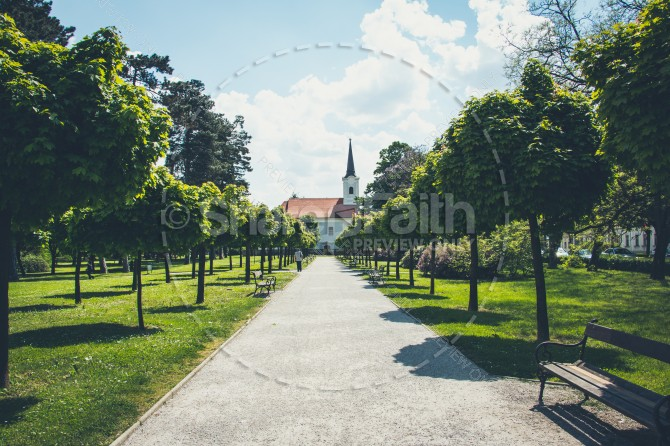 Pathway to Church Religious Stock Photo
