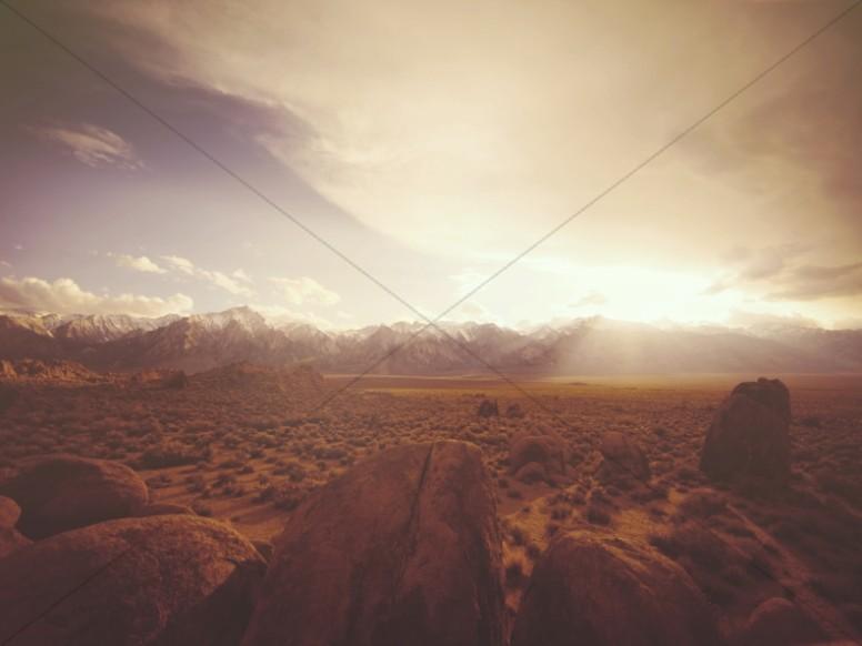 Sunrise on the Desert Plain Religious Worship Background