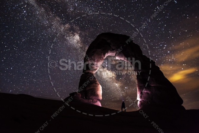 Stargazing Under an Arch Ministry Stock Photo