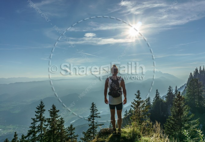 Man Looking Over Valley Religious Stock Photo
