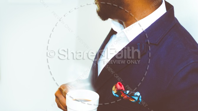 Pastor with Coffee Church Stock Photo
