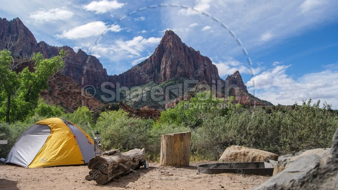 Summer Camping Church Stock Photo