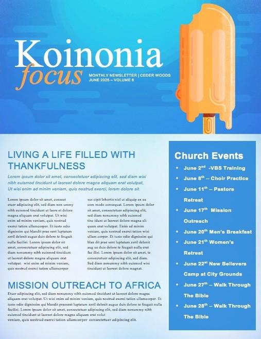 Church Summer Events Newsletter