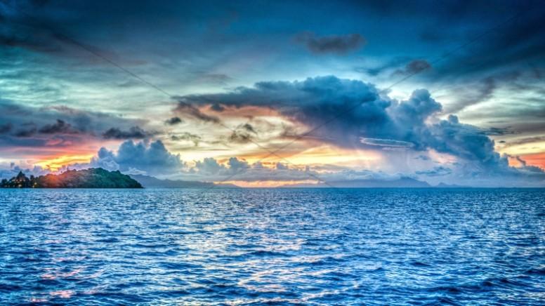 Tropical Ocean Sunset Religious Stock Image