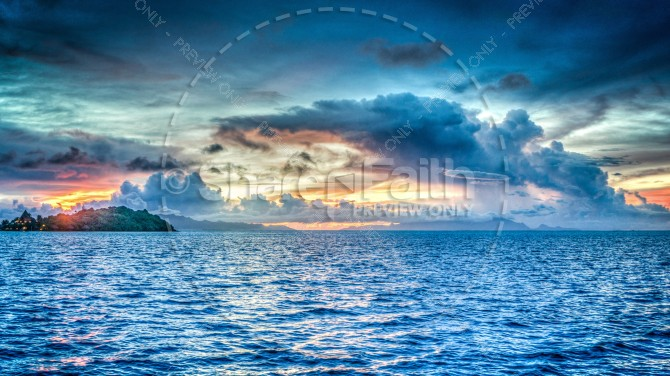 Tropical Ocean Sunset Religious Stock Image